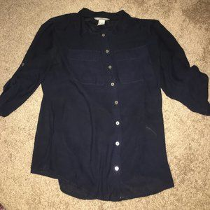 Fitted Navy Button Down Semi-Sheer Blouse